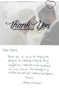 Wedding band thank you card Amber